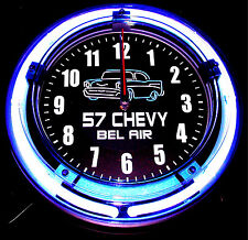 "'57 CHEVY BEL AIR LOGO 11"" BLUE NEON CLOCK - NEW !!"