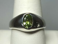 Brand New Sterling Silver Genuine Oval 7mm x 5mm Peridot Man's Ring