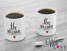 SET OF 2 MUGS PERSONALISED MR AND MRS COFFEE MUG TEA CUP WEDDING ENGAGEMENT GIFT