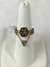 NEW ALEXIS BITTAR Crystal Encrusted GOLD Pink Quartz Charm Ring Set Size 7 $145