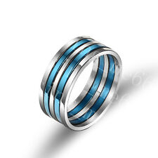 Stainless Steel Ring 5Pcs Set Blue Classic Wedding Anniversary Gift SZ 6-12 FRE