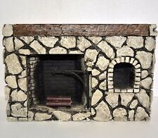 Dollhouse miniature fieldstone fireplace rustic stone diorama plaster fire place