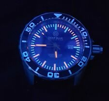 Deep Blue Divers Watch T-100 Tritium has Exhibition Back