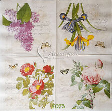 4 pcs Botanical Rose Flower Spring Napkin Decoupage Serviette Cocktail Paper 3