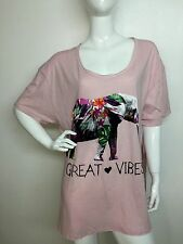 Rebellious One Women New Pale Pink Split-Side Elephant GraphicTee T-shirt 2X NWT