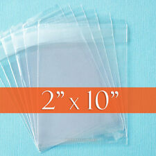 "100 Clear Cello Bags, 2"" x 10"" Resealable 1.8 mil OPP Poly Cellophane, 2x10 inch"