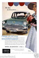 Opel Kapitän Reklame von 1956 Chauffeur Dame Blumen Werbung Kapitaen ad Kleid