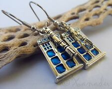 Doctor Who Sonic Screwdriver And Tardis Police Box Stainless Steel Earrings