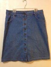 PURE Collection Womens 14 Modest Button Front Mid Calf Denim Skirt