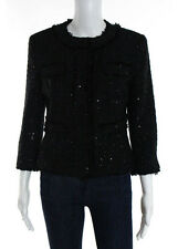 MICHAEL KORS Black Sequined Crew Neck Long Sleeve 4 Pocket Buttoned Blazer Sz 2