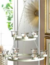 Elegant ** WHITE TREE 2-TIER 9 CANDLE CUP IRON & GLASS CHANDELIER & CHAIN ** NIB