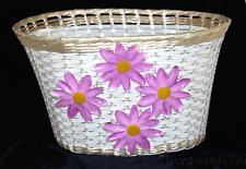 Extra Large White Plastic Bicycle Basket / 4 Lavender Flowers NEW!