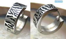 Edelstahl Ohrringe Creolen Tiger Streifen silber schwarz 16mm Piercing Ohr