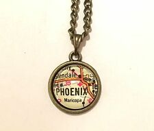 MARICOPA GLENDALE TEMPE MESA PHOENIX ARIZONA USA Map Pendant necklace ATLAS f04