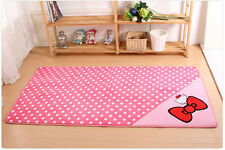 New 50*120cm Hello Kitty  Bow Floor Mat Rug Plush Door Kid Room Mat Light Pink
