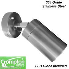 Stainless Steel Adjustable Exterior Wall Light 240V 5W GU10 LED -globe included!