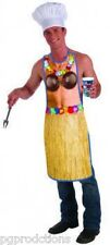 Funny HAWAIIAN LUAU APRON Costume Adult Cookout BBQ Party Joke Bra Skirt Flowers