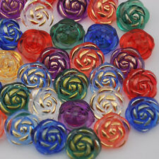 100pcs Mix Plastic Buttons Acrylic big Rose Straight hole lots Upick PT92