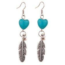 Women's Turquoise Love Heart Tibetan Silver Feather Leaves Dangle Hook Earrings