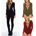 Womens Sexy Long Sleeve Stretch Plunge Lace Up Bodycon Bodysuit Leotard Tie Top
