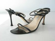 MANOLO BLAHNIK Black Leather Strappy Heels Sandals Ankle Straps 40.5