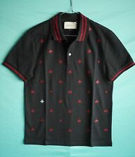 2016 Gucci Mens polo with bees and stars blue ink stretch cotton t shirt size M