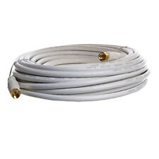25 FT RG59 Gold Plated Coaxial Digital Cable TV VCR Video White Screw on