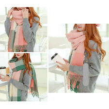 Colorful Women Pretty Long Winter Cashmere Tassel Plaid Scarf Wrap Shawl Scarves