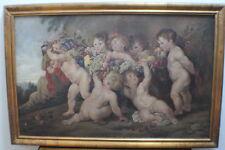 Gemälde Bild Öl 1929 auf Leinwand Früchtetraum Rubens nackte Kinder Putten #4926