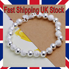 Silver 925 Sterling 8mm Ball Bead Bracelet Textured Smooth Free Gift Bag
