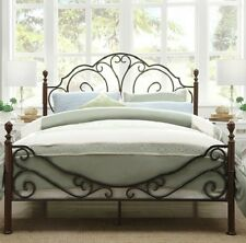 King Size Poster Bed - Bronze Metal and Cherry Finish - Beautiful & SHIPS FREE