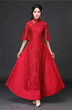 Embroidery Lace Cheongsam Ao Dai Party Cocktail Wedding Maxi Dress Ball Gown