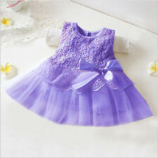 Baby Girls Toddler Party Princess Lace Tutu Newborn Bow Flower Dress Tops 0-12M