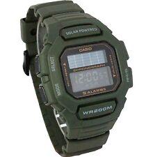 Casio HDD-S100-3A Mens ARMY GREEN Digital Solar Sports Watch Tough 5 ALARMS 200M