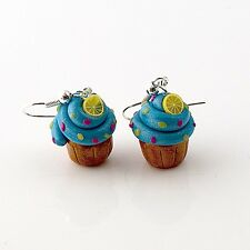 cupcake earrings blue lemon cute emo retro buns sweet