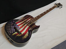 DEAN Dave Mustaine Mako Glory 4-string acoustic electric BASS guitar - USA flag