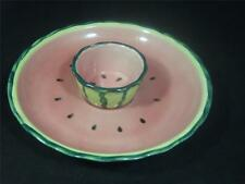 SUMMERTIME FUN DECORATIVE WATERMELON DESIGN CHIP AND DIP SERVER