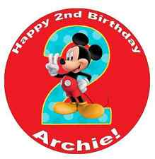 """Mickey Mouse 2nd Birthday Personalised Cake Topper 7.5"""" Edible Wafer Paper"""