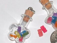 1 small Glass rainbow Bottle pendant miniature tiny Gummi gummy bears candy food