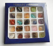 25 Polished Tumble Stones Gemstones In Box  Amazonite Quartz Agate Howlite Etc
