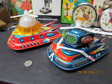 FLASH SPACE PATROL & MERCURY EXPLORER SPACE SHIPS- 2 BATTERY OPERATED TOYS 1960s