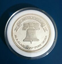 "SOLID SILVER.999 ROUND  "" A-Mark ""   ""Life, Liberty, & Happiness"" One Oz Ounce"