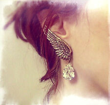 *BOLD DRAMATIC STYLE*Angel wing ear cuff clip on earrings crystal drop dangler
