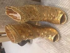 NIB LAURA CHU Sexy GOLD Open Toe Stiletto Heel ANKLE BOOTS BOA-01 Size 8