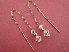 9ct Gold .375 Swarovski Elements AB Crystal Pull Through Drop Dangle Earrings