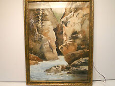 WATERCOLOR BY LISTED FRENCH ARTIST HUBERT E. DELORME (1842-1894) OF ROCKY CANYON