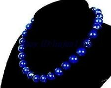 Pretty!AAA 10mm Egyptian Lapis Lazuli Gems Necklace 18''