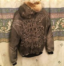 90s Pelle Pelle Leather Jacket Marc Buchanan Gray Size 48 Fur Hood Jewels 1978