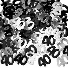 40th Birthday Party Supplies Confetti Black Silver Table Scatters Decorations