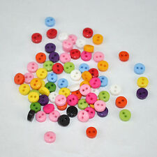 100pcs Multi Colour DIY Handcraft Flat Round Resin Buttons For Dolls Clothes